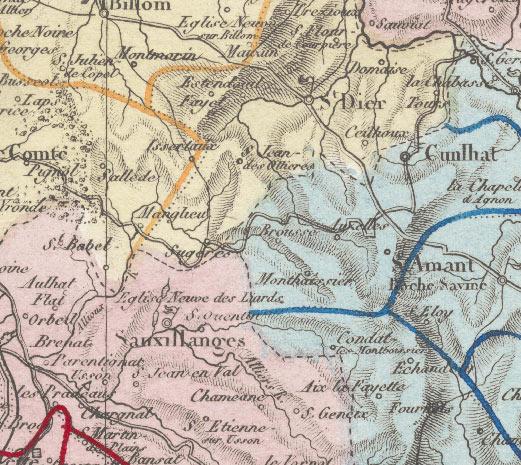 Détail d'une carte de l'atlas du 19e siècle