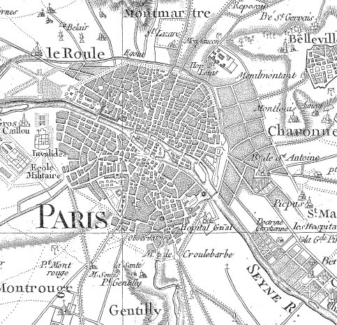 Paris sur la carte de Cassini