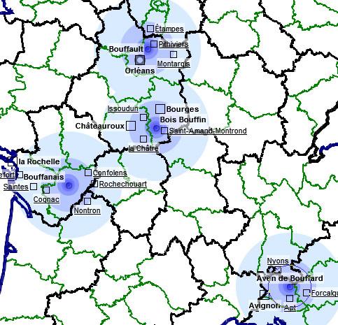localisations de plusieurs toponymes