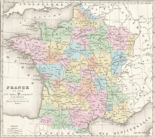 carte de france 1870